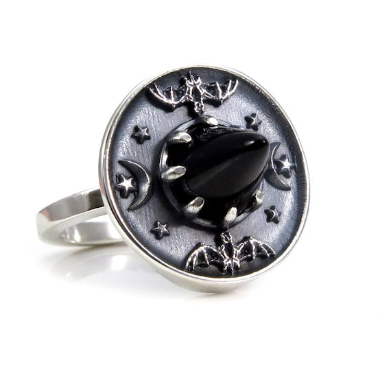 Onyx and Sterling Silver Witch Hat Ring with Bats, Moons and Stars - Limited Edition