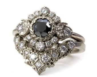 Black and White Diamond Engagement Ring Set -Diamond Stardust Chevron Stacking Wedding Band - Celestial Wedding Set