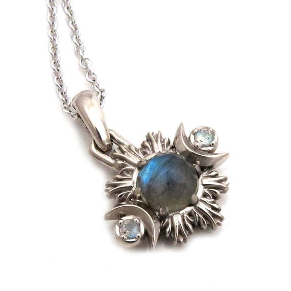 Labradorite Moon Fire Pendant - 14k Palladium White Gold Moon Phase Necklace - Ready to Ship