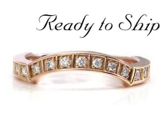 Ready to Ship Size 6 - 8 -Curved Modern Diamond Wedding Band -White Diamonds - 14k Rose Gold