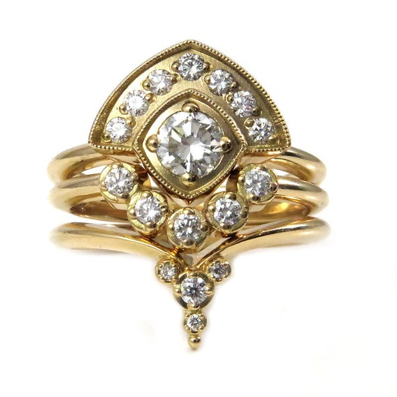 Art Deco Stacking Diamond Engagement Ring Set - Rose, Yellow or White Gold