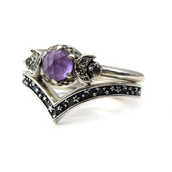 Amethyst Moon and Stars Sterling Silver Engagement Ring Set with Black Diamonds