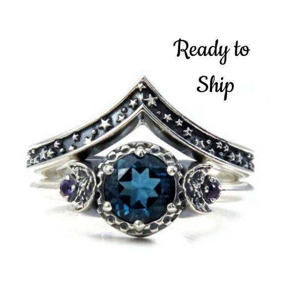 Ready to Ship Size 7- 9 - London Blue Topaz Moon and Stars Sterling Silver Engagement Moon Ring Set