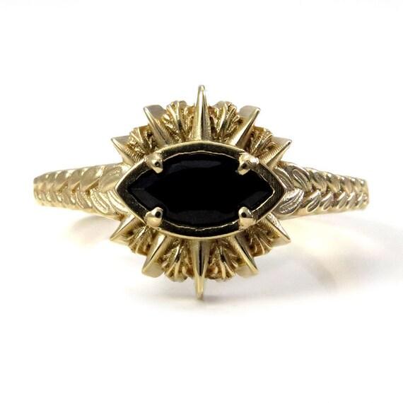 Ready to Ship Size 6 - 8 Black Spinel Sage Burning Evil Eye Ring - 14k Yellow Gold