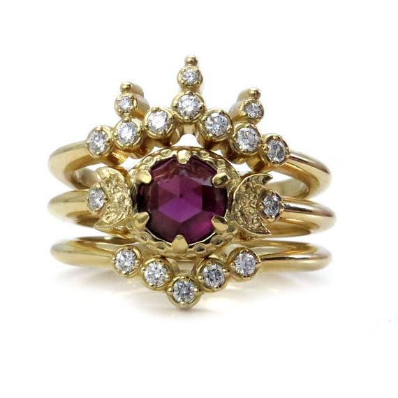 Rhodolite Garnet Moon Goddess Engagement Ring Set - 14k Gold with Diamonds