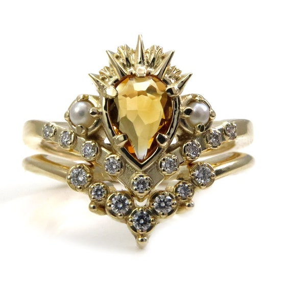 Ursula the Sea Witch Engagement Ring Set - Citrine Pear with Seed Pearls and Diamonds