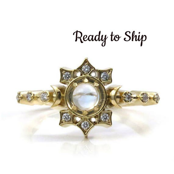 Ready to Ship Size 6 - 8 Orion Moon Ring - Peristerite Moonstone and Diamonds Constellation Engagement Ring