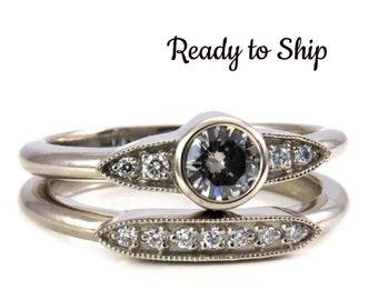 Ready to Ship Size 6-8 - Art Deco Grey Diamond and Tiny Diamond Engagement Ring Set - 14k White Gold