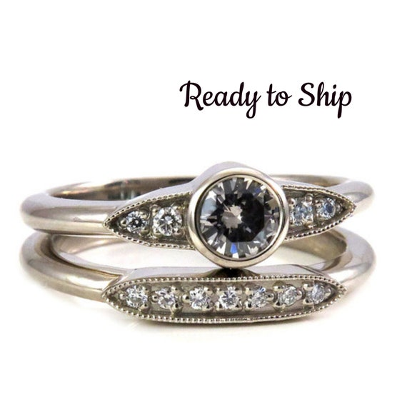 Ready to Ship Size 6-8 - Art Deco Grey Diamond and Tiny Diamond Engagement Ring Set - 14k White Gold