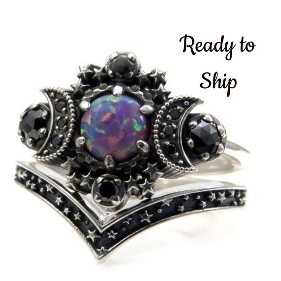 Ready to Ship Size 8 - 10 - Purple Lab Opal Cosmos Moon Engagement Ring Set - Sterling Silver with Black Diamonds