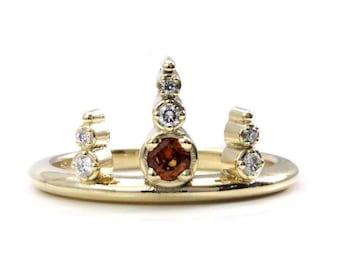 Ready to Ship Size 6 - 8 - Hessonite Garnet Viking Diamond Crown Ring - 14k Yellow Gold Stacking Engagement