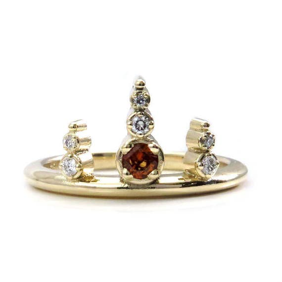 Ready to Ship Size 6 - 8 - Hessonite Garnet Viking Diamond Crown Ring - 14k Yellow Gold Stacking Engagement