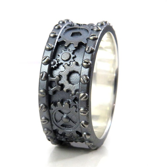 Sandblasted Gray Silver Gear Ring with Rivets - Industrial Steampunk Mens Ring