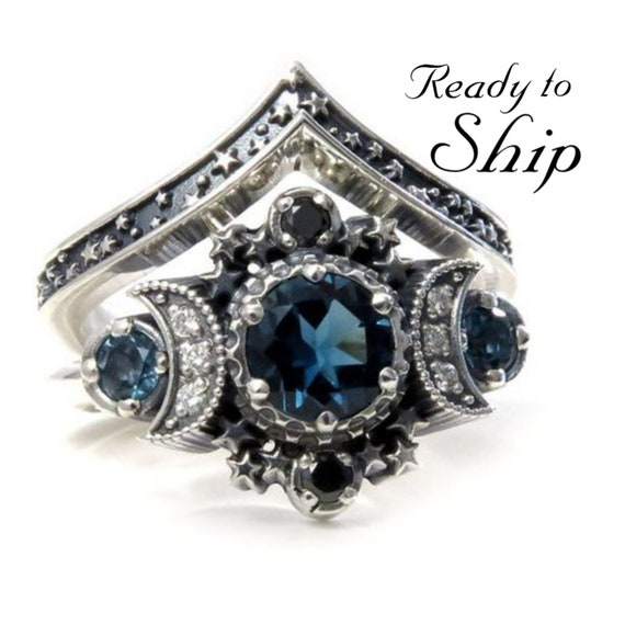 Ready to Ship Size 6 - 8 - London Blue Topaz Cosmos Moon Engagement Ring Set Triple Moon Goddess Silver Ring with Stardust Chevron Band