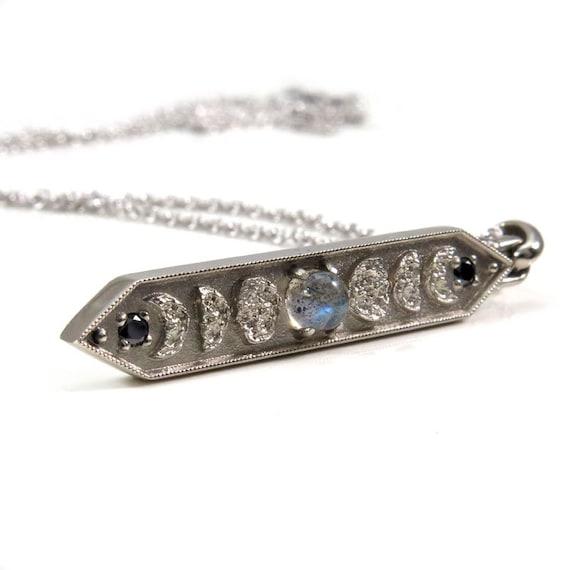 Labradorite Moon Phase Bar Pendant with Black Diamonds - Lunar Fine Jewelry Necklace - 14k Palladium White Gold