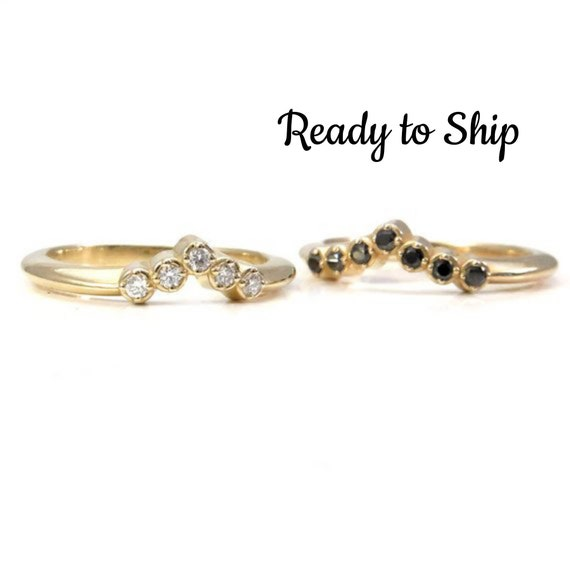 Ready to Ship Size 5 - 7 -Diamond Stacking Chevron Ring - 5 White Diamonds or 7 Black Diamond 14k Yellow Gold Wedding Band