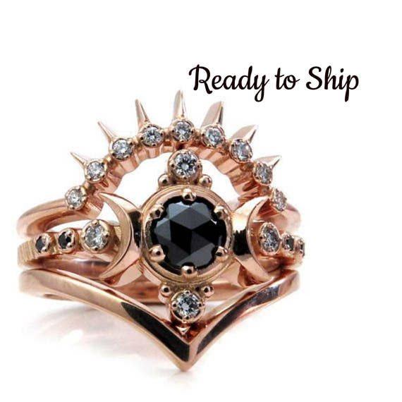 Ready to Ship Size 6-8 Black and White Diamond Moon Goddess Engagement Ring Set with Sunray and Chevron Wedding Bands - 14k Rose Gold