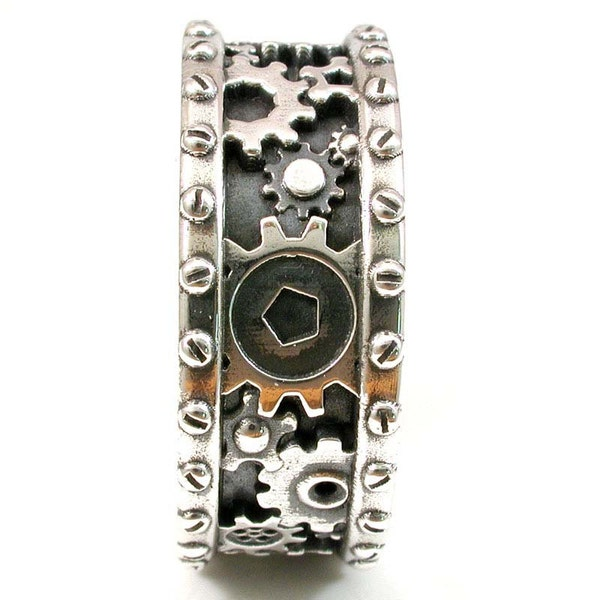 SteamPunk Mens Silver Ring  Gears and Rivets  Industrial image 2