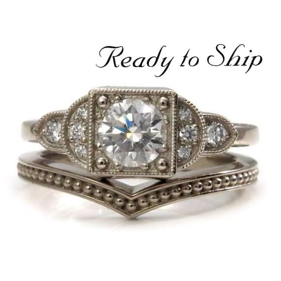 Ready to Ship Size 6 - 8 - Art Deco Moissanite and Diamond Engagement Ring - 14k Palladium White Gold Diamond Wedding Ring Set