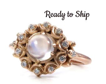 Ready to Ship Size 5.5 - 7.5 Crystal Ball Bohemian Engagement Ring - Moonstone and Diamonds in 14k Rose Gold