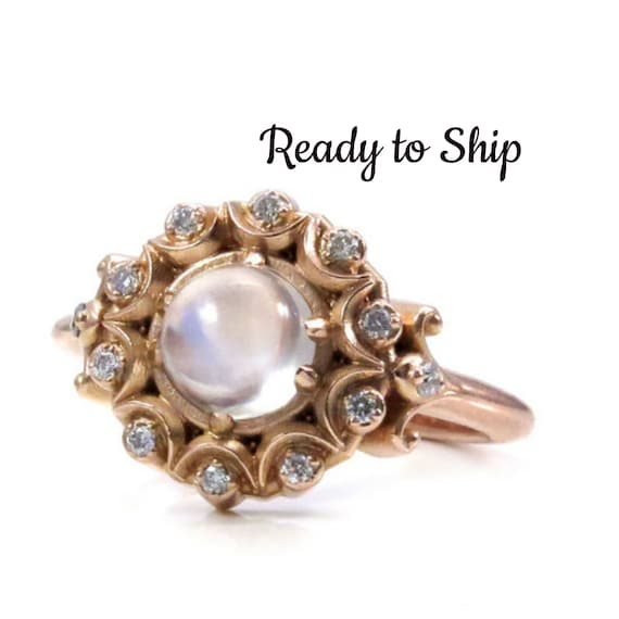 Ready to Ship Size 6 - 8 Crystal Ball Bohemian Engagement Ring - Moonstone and Diamonds in 14k Rose Gold