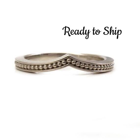 Ready to Ship Size 5 - 7 - Modern Chevron Millgrain Nesting Band Midi Knuckle or Engagement Ring - 14k Palladium White Gold Wedding Band