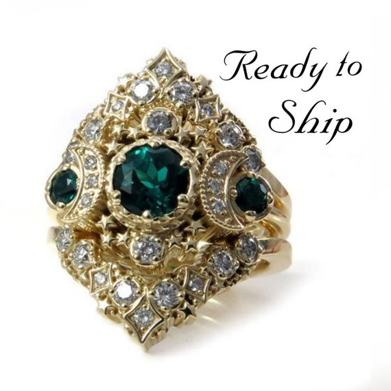 Ready to Ship Size 6 - 8 - Cosmos Stardust Engagement Ring Set - Chatham Emeralds & Diamonds Moon Wedding Set - 14k Yellow Gold