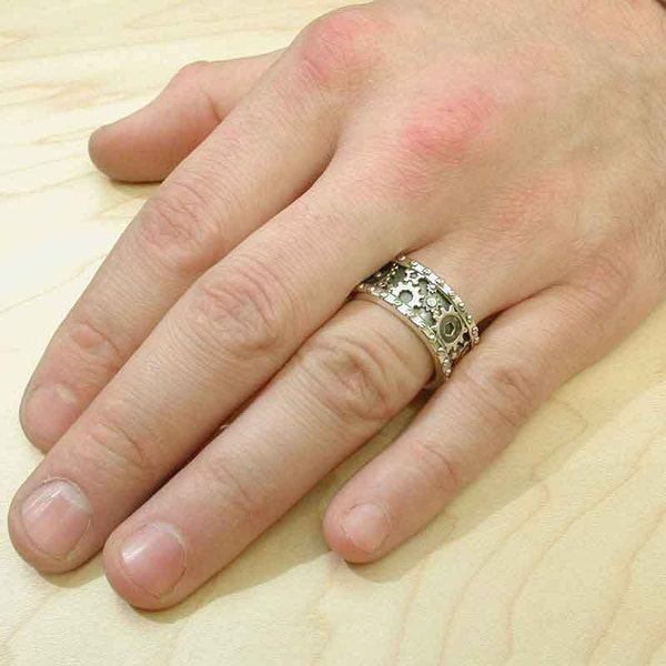 SteamPunk Mens Silver Ring  Gears and Rivets  Industrial image 3