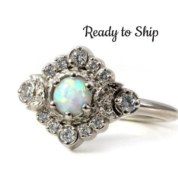 Ready to Ship Size 6 - 8 - Lab Opal Moon Halo Engagement Ring - White Diamonds in 14k Palladium White Gold