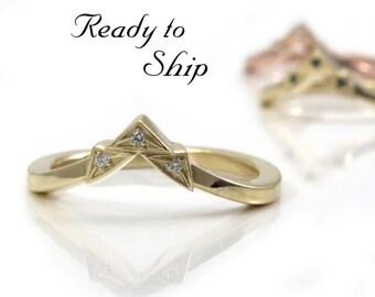 Ready to Ship Size 6 - 8 - Art Deco Tiny Diamond Chevron Pointed Gold Wedding Band - Rose, Yellow or Palladium White Gold