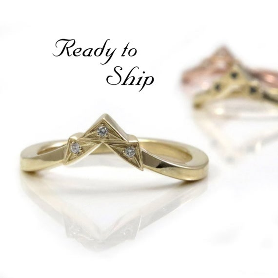 Ready to Ship Size 6 - 8 - Art Deco Tiny Diamond Chevron Pointed Gold Wedding Band - Rose, Yellow or Palladium White Gold