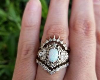 Starseed Lab Opal Engagement Ring Set - 14k Palladium White Gold & Diamonds - Celestial Moon Phase Wedding Set