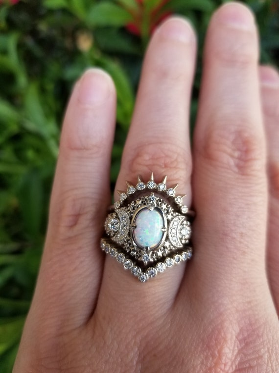 Starseed Lab Opal Engagement Ring Set - 14k Palladium White Gold & Diamonds - Celestial Moon Phase Wedding Set