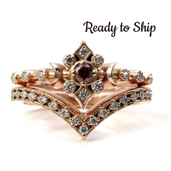 Ready to Ship Size 6 - 8 - Irradiated Peach and White Diamond Tiny Moon Engagement Ring Set - 14k Rose Gold