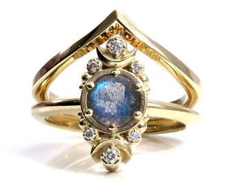Luna Labradorite Engagement Ring with Diamonds and Chevron Wedding Band - Gold Moon Phase Ring Set