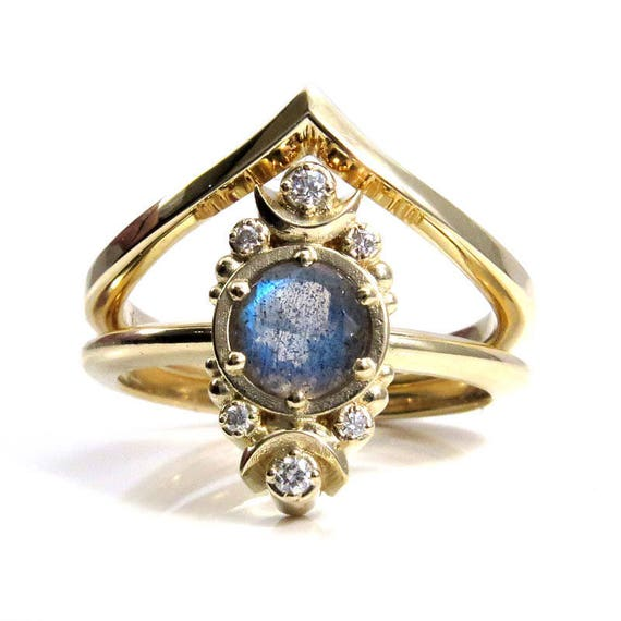 Luna Labradorite Engagement Ring with Diamonds and Chevron Wedding Band - Gold Moon Phase Ring Set