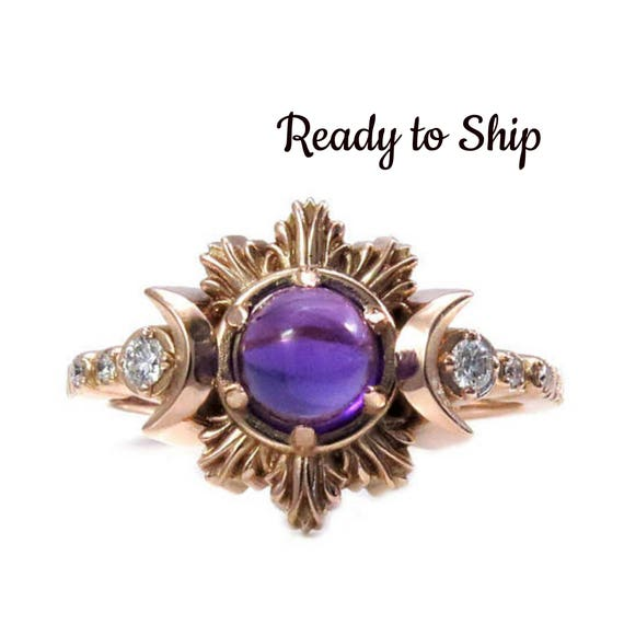 Ready to Ship Size 6-8 Amethyst Moon Fire Engagement Ring - Rose Gold and Diamond Moon Phase Jewelry
