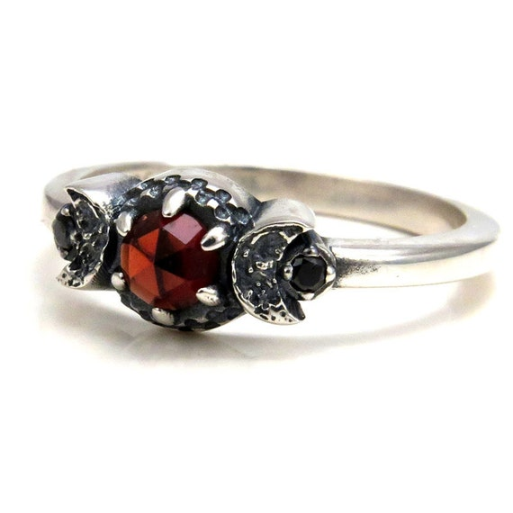 Blood Moon Garnet Ring with Crescent Moons and Black Diamonds - Moon Phase Engagement Ring