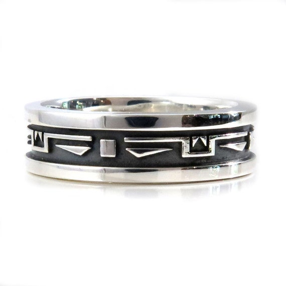 Ready to Ship Size 9.5 - 10 - Mens Southwest Art Deco Silver Wedding Ring - Handmade Sterling Band