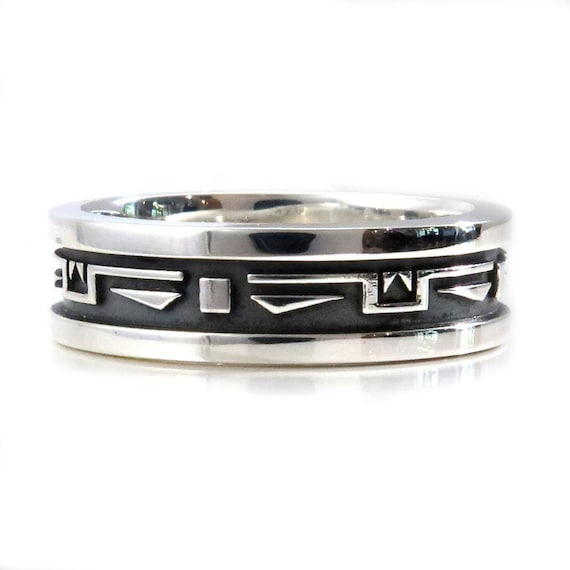 Mens Southwest Art Deco Silver Wedding Ring - Handmade Sterling Band