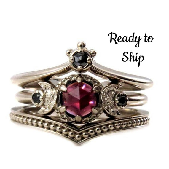 Ready to Ship Size 6 - 8 - Black Diamond And Garnet Crown and Moon Engagement Ring Set - Gothic Victorian Fine Jewelry