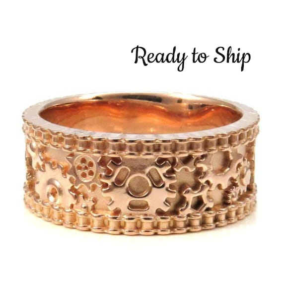 Ready to Ship Size 9.5 -10 - Mens Rose Gold Gear Ring with Bike Chain Rails - Industrial Steampunk Wedding Band