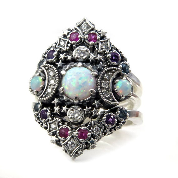 Lab Opal Cosmos Nebula Moon and Star Ring Set - Sterling Silver with White Diamonds and Double Stardust Chevrons