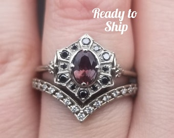 Ready to Ship Size 6 - 8 - Oval Bi-Color Oregon Sunstone Deco Halo Engagement Ring - Black Diamond Halo - 14k Palladium White Gold