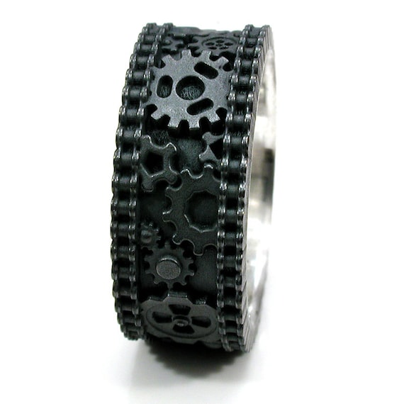 Gear Ring - Mens Steampunk Bike Chain Black Silver Ring