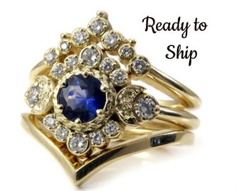 Ready to Ship Size 6 - 8 - Moon Goddess Sapphire Engagement Ring Set with Double Chevron Wedding Band - 14k Yellow Gold - Handmade Jewelry