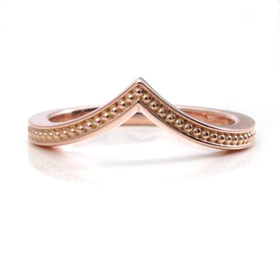Cathedral Millgrain Gold Ring - Delicate and Dainty Curved Wedding Band - Rose Gold Yellow Gold or White Gold