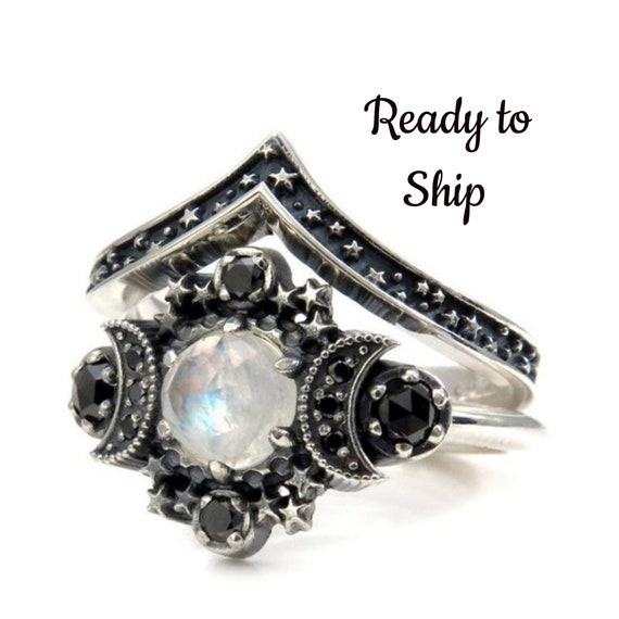Ready to Ship Size 6 - 8 - Rainbow Moonstone Cosmos Moon Engagement Ring Set - Sterling Silver