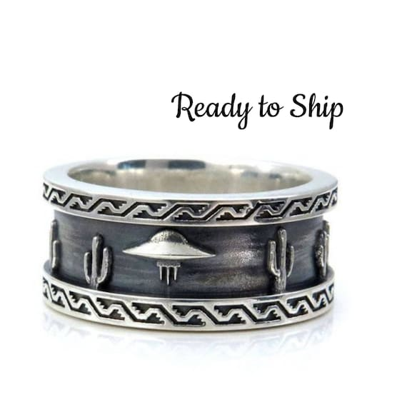 Ready to Ship Size 8 - 8.5 - Mens Roswell UFO Ring - Sterling Silver - Southwest Scene with Cactus