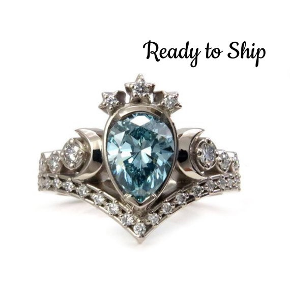 Blue Diamond Lunar Priestess Engagement Ring - Irradiated Blue Pear Diamond with White Diamonds - 14k Palladium White Gold - Size 6-8